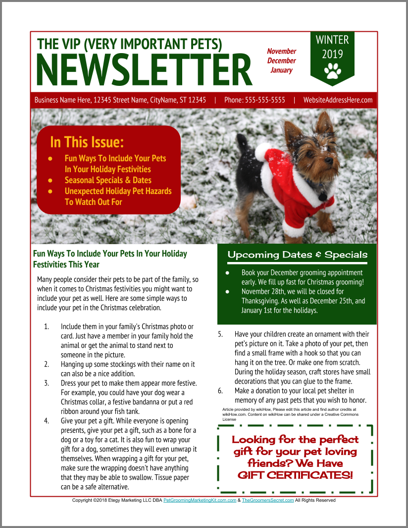 New Dog Grooming Seasonal Newsletter Templates From Https Www