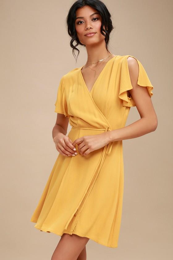 Harbor Point Mustard Yellow Wrap Dress Wrap Dress Short Cocktail Dress Yellow Mustard Yellow Dresses
