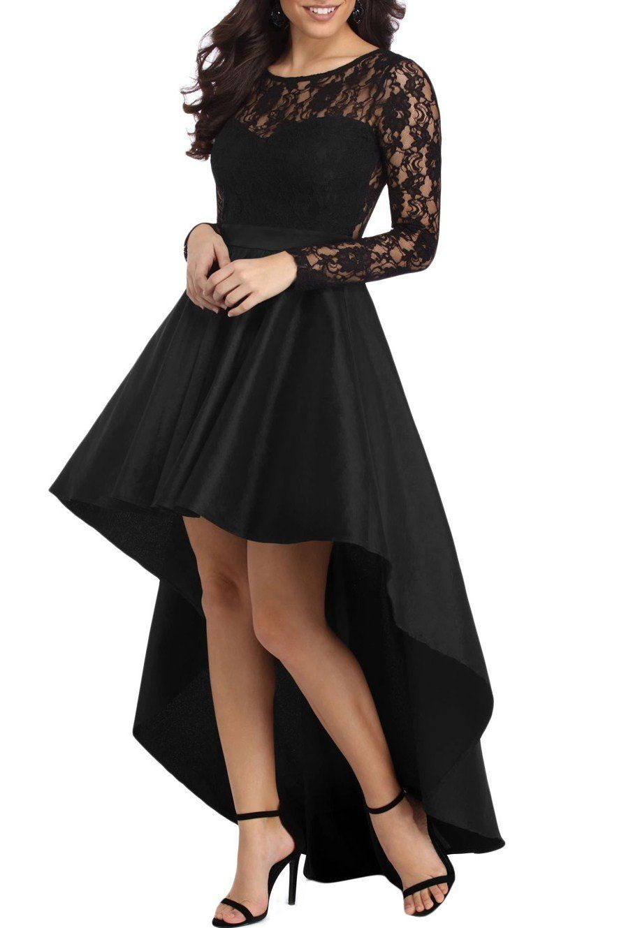 Black long sleeve lace high low satin prom dress high low satin