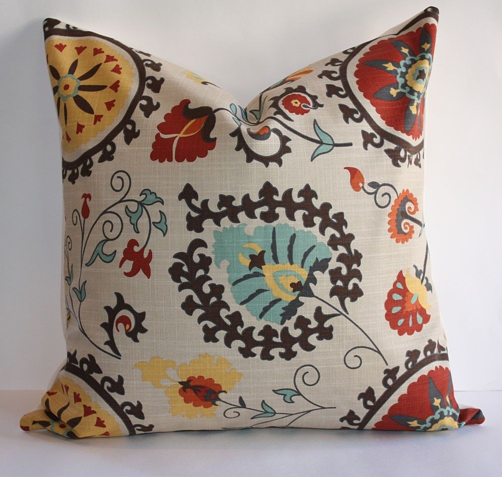 Suzani Pillow Cover/ 20x20/ Suzani Print in Rust, Turquoise and Gold/ FREE DOMESTIC SHIPPING FOR LIMITED TIME. $30.00, via Etsy.