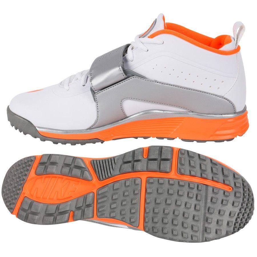 low priced f92df a8859 Nike Huarache Turf LX Lacrosse Cleats - White Silver Orange