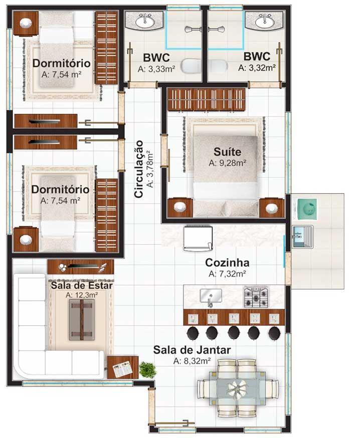 Plano de casa de un piso con tres dormitorios 70m2 for 70m2 house design