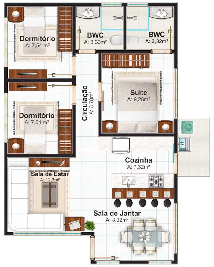 Plano de casa de un piso con tres dormitorios 70m2 for Plano casa un piso