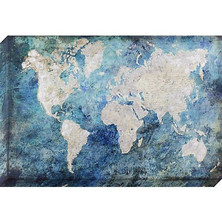 Silver and blue world map canvas art print silver and blue world map canvas art print kirklands gumiabroncs Gallery
