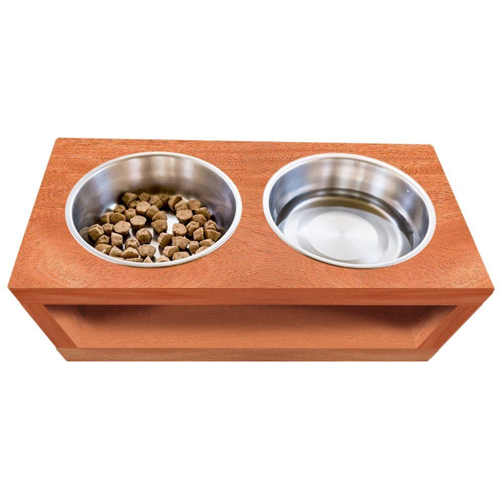 CHOOSE YOUR SIZE - UNFINISHED Solid wood Elevated Dog and Cat Pet Feeder, 1/2/3 Bowls Raised Stand (2 quart), 3/4' thick * Read more reviews of the product by visiting the link on the image. (This is an affiliate link and I receive a commission for the sales) #MyPet