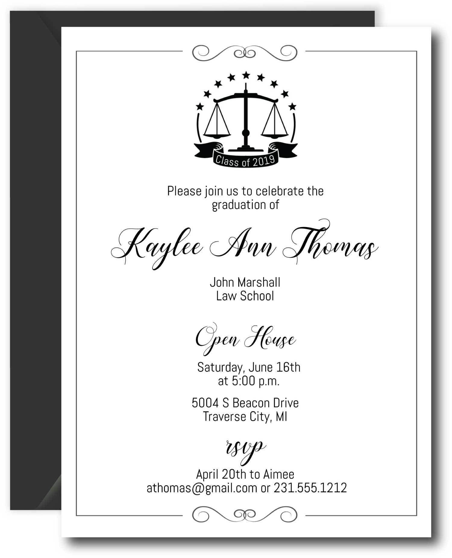 Law Graduation Invitations Graduation Invitations School Graduation Announcements Graduation Party Invitation Wording
