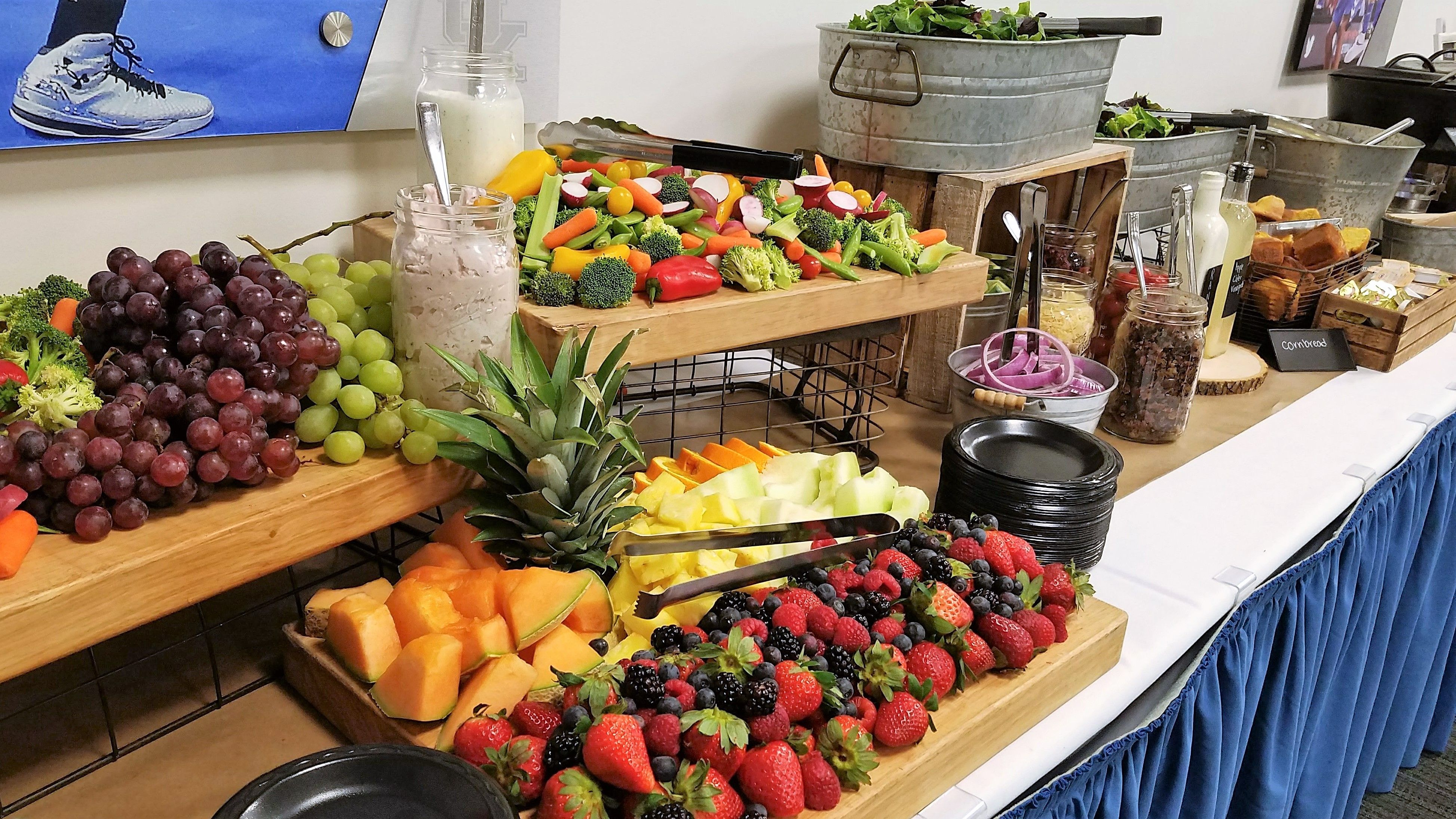 Salad Station Appetizer Table Grazing Table Kentucky Comic Con Vip Event Rustic Wedding Catering City Bbq City Barbeque I Do Bbq