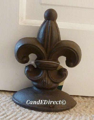 Decorative Cast Iron Door Stop Doorstop Wedge Fleur De Lys Classic Design  NEW | EBay