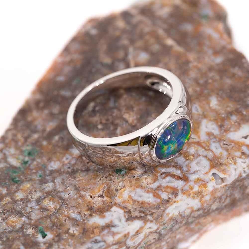Electric Fire Opal Sterling Silver Australian Black Opal Ring In 2020 Black Opal Ring Australian Black Opal Opal Rings