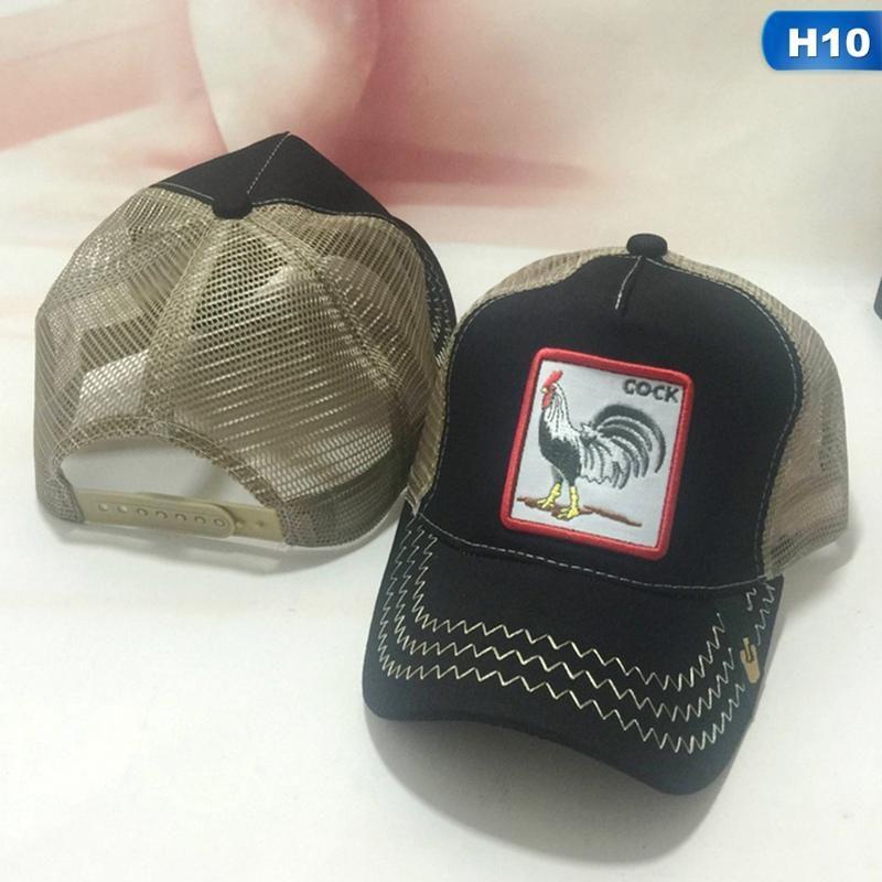 59ed2e7bde8 Cock Animal Embroidery Baseball Cap Men Women Snapback Caps Breathable Mesh  Hip Hop Hats Unisex Eat Chicken Bone Casquette