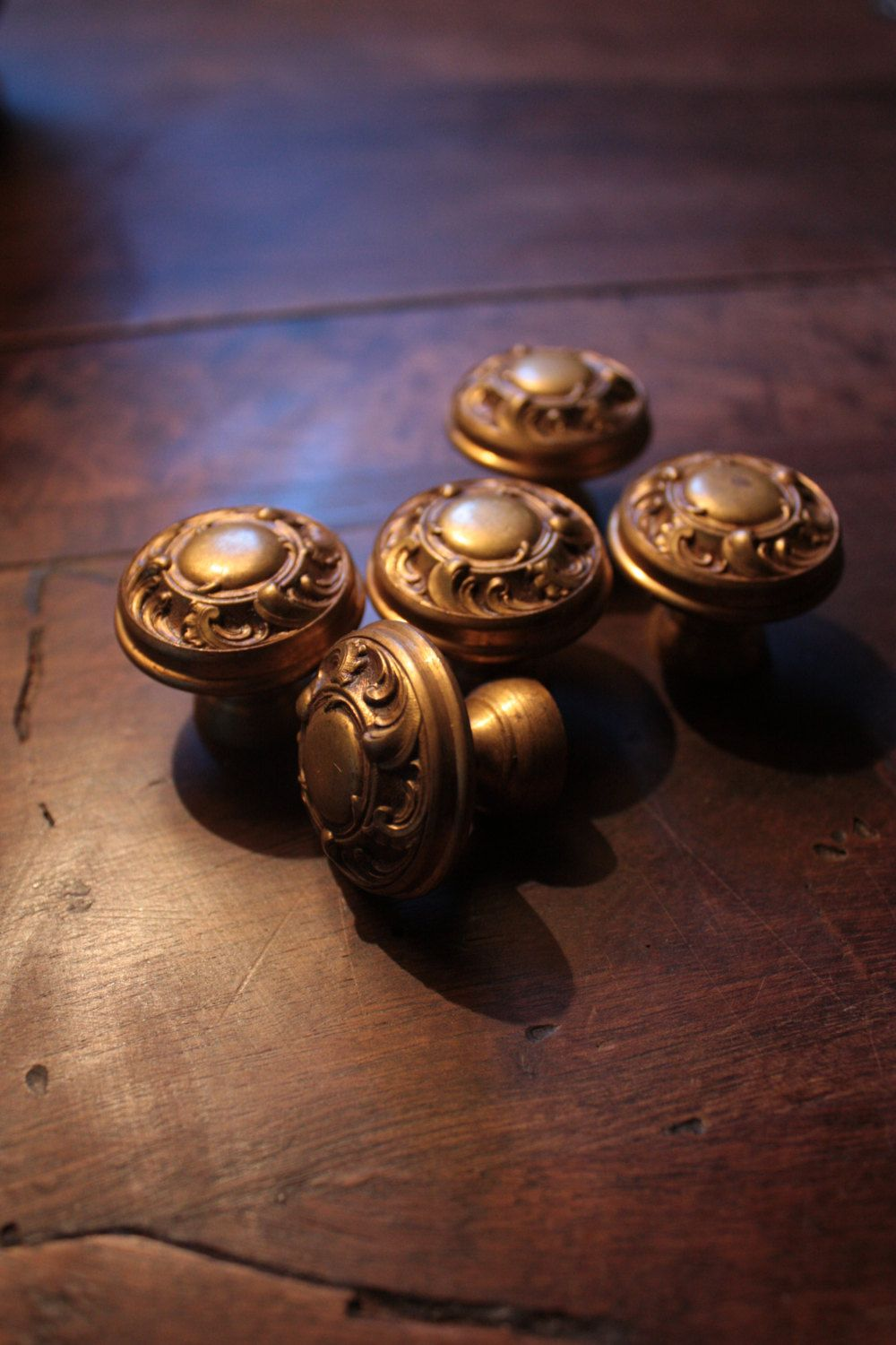 Five Vintage French Brass Drawer Knobs by FarmGateVintage on Etsy