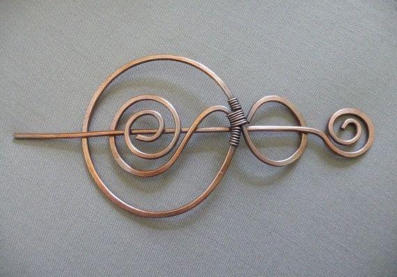 Copper Bun Cage Hair Slide Copper Hair Clip by fancyyoudesigns