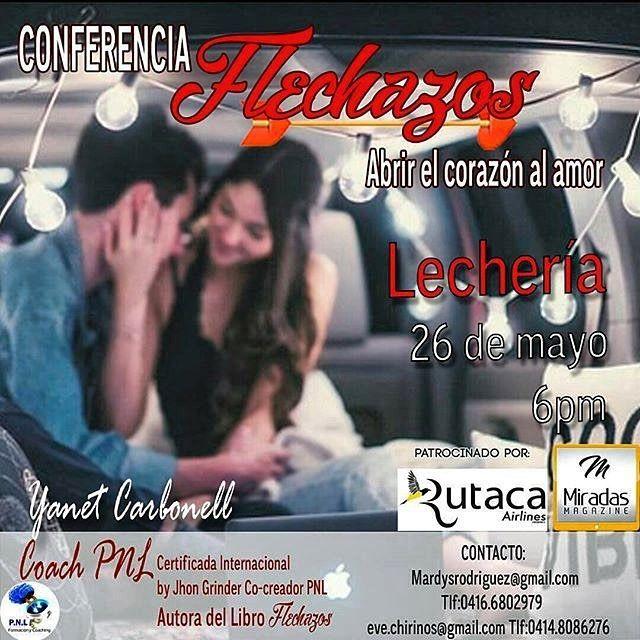 De @yumarkcoach  Mañana por  Camino al Bienestar como se los prometí estaremos hablando de la conferencia que viene a dar @carbonellyanet  FLECHAZOS  IMPERDIBLE! !!!! A las 8 am por DINÁMICA 103.3FM @RepostIt_app Conferencia tertulia Flechazos este 26 de mayo. Más información @evechirinos @mardysveronica  #Flechazos #amor#Lechería#parejas Patrocinantes @rutaca @miradasmagazine @ivettedominguez