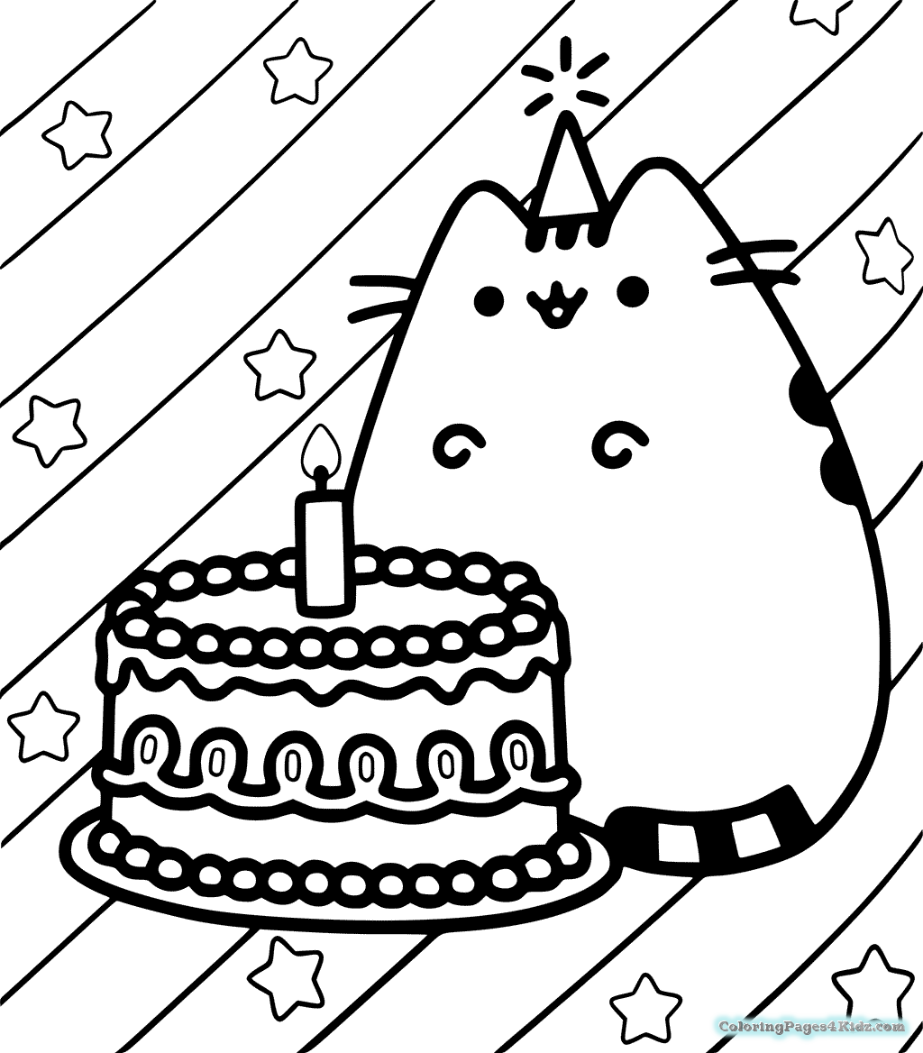 Coloring Rocks Birthday Coloring Pages Pusheen Birthday Cute Coloring Pages