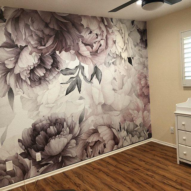 Peonies Wallpaper Removable Floral Wallpaper Peonies Flowers Etsy In 2021 Peony Wallpaper Floral Wallpaper Nursery Wallpaper