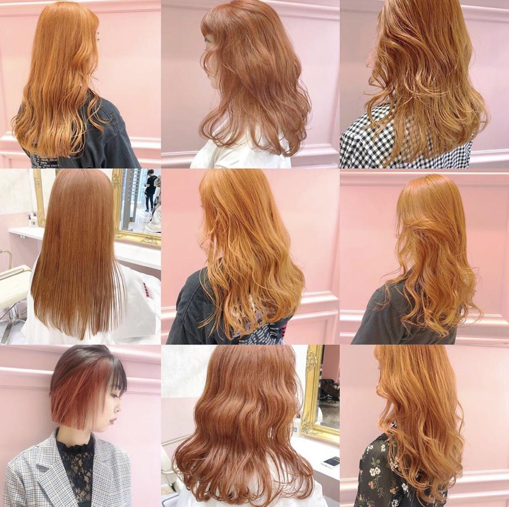 ヘアカラー 髪色 髪型 オレンジ ベージュ イエロー ブラウン ボブ