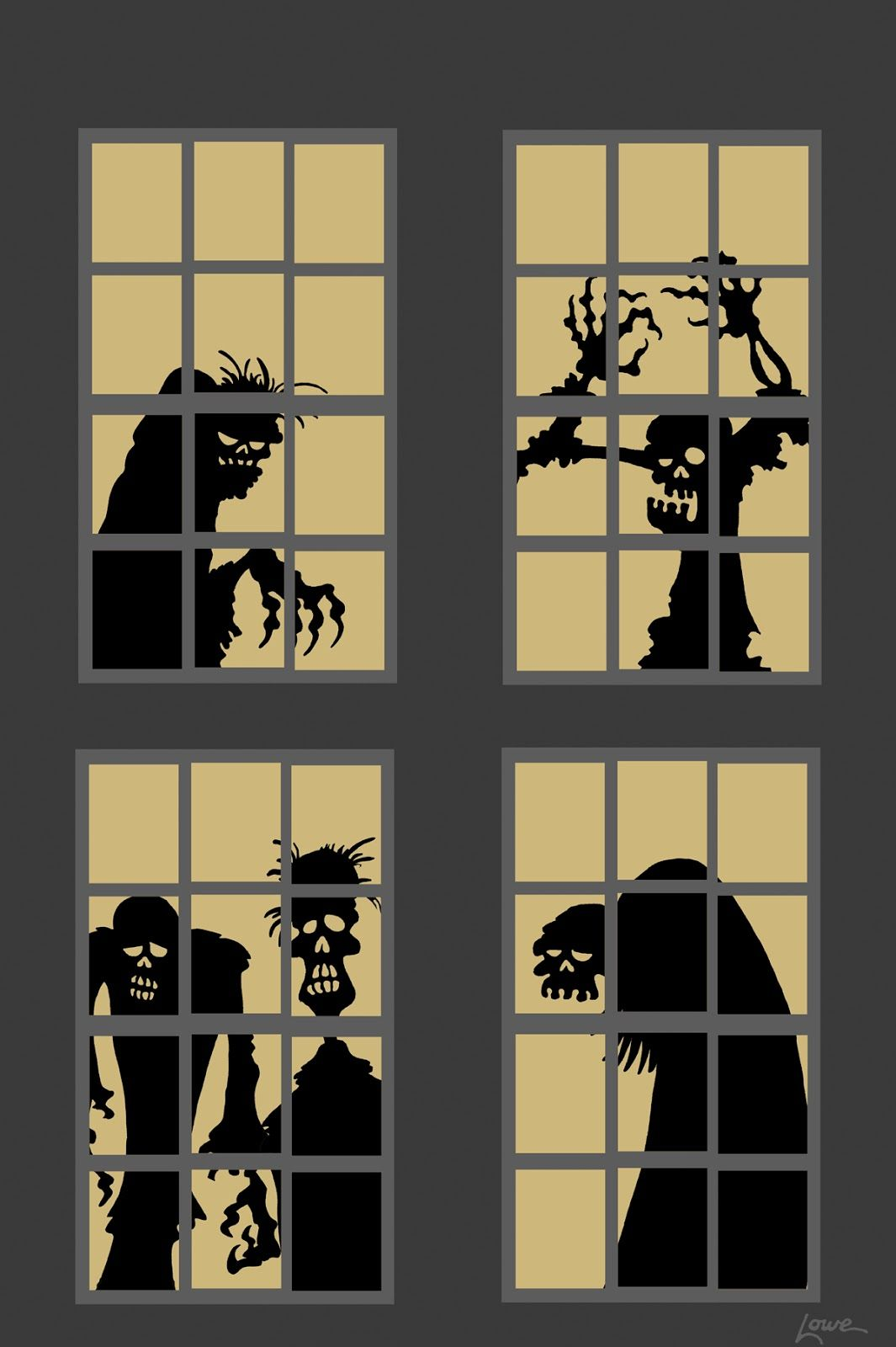 cut out halloween window silhouettes - Google Search Hallowe\u0027en - Window Halloween Decorations