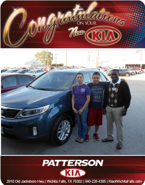 Congratulations to Gloria Gutierrez and her 2014 Kia Sorento! - From Mo Yero at Patterson Kia