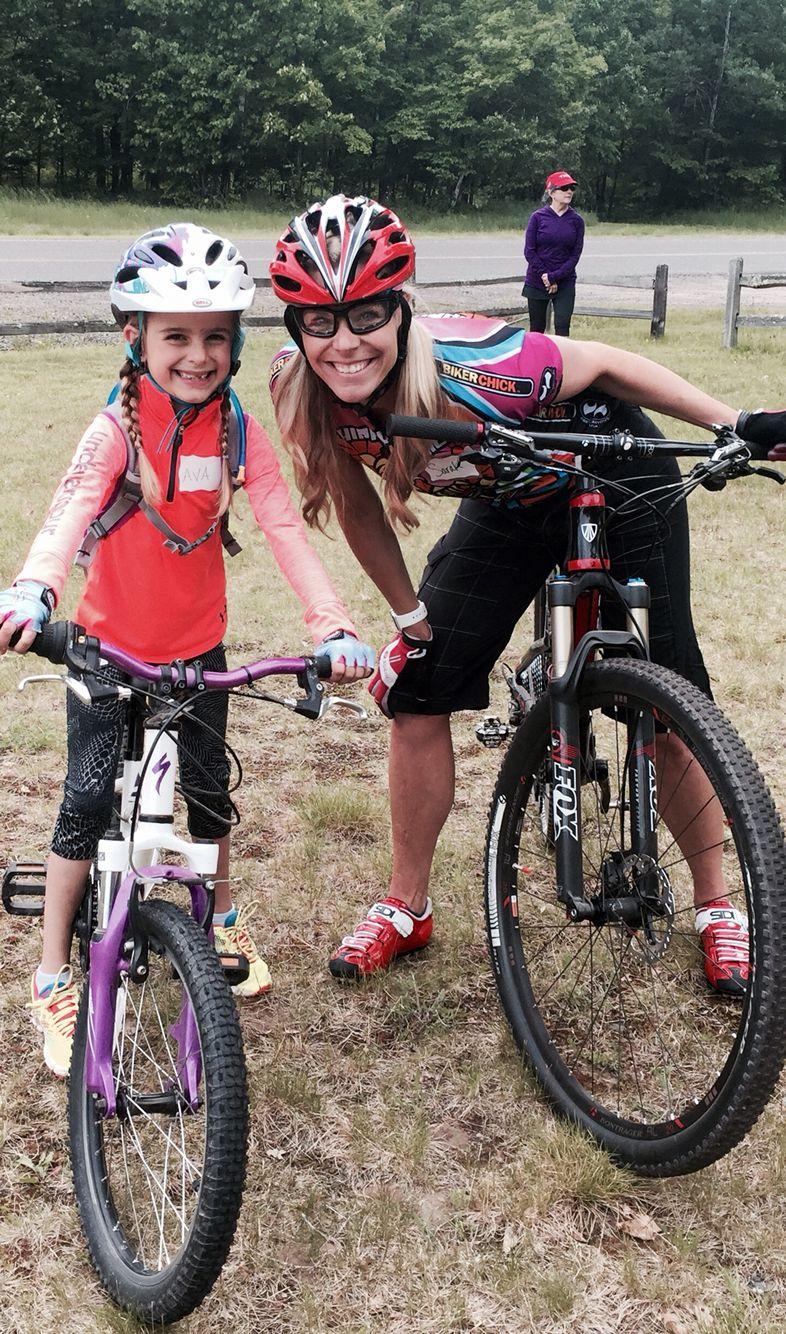 Ava and mom mt biking