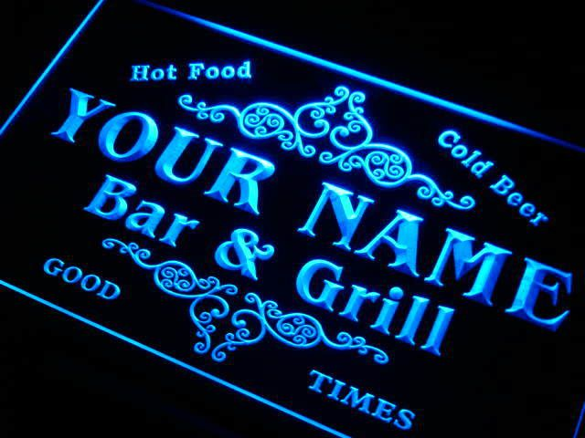 Personalized Neon Signs Glamorous Bar & Grill Personalized Home Signs Custom Bar Room Name Sign Design Decoration