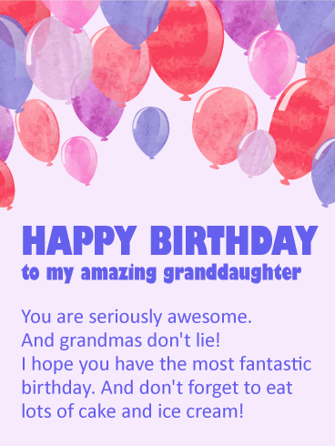 You Are Awesome Happy Birthday Wishes Card For Granddaughter Birthday Greeting Cards By Davia Happy Birthday Wishes Cards Granddaughter Birthday Birthday Wishes