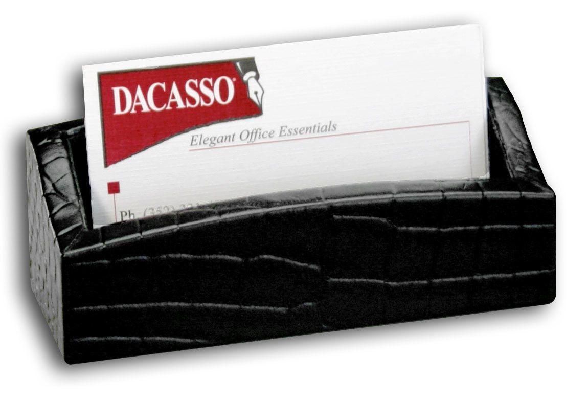 2000 Series Crocodile Embossed Leather Business Card Holder in Black