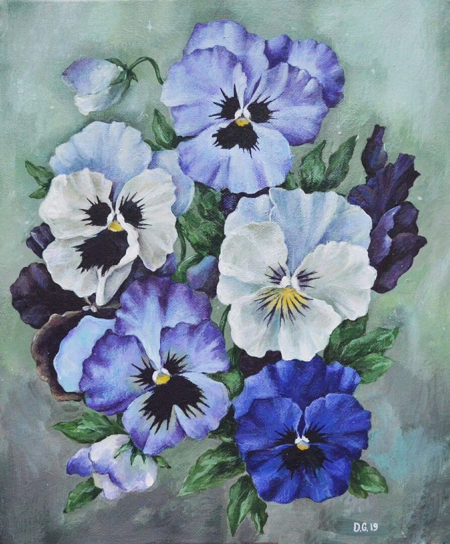 Pansies Painting Acrylic Painting Flower Painting Original Etsy Acrylic Painting Flowers Flower Art Painting Flower Painting Original