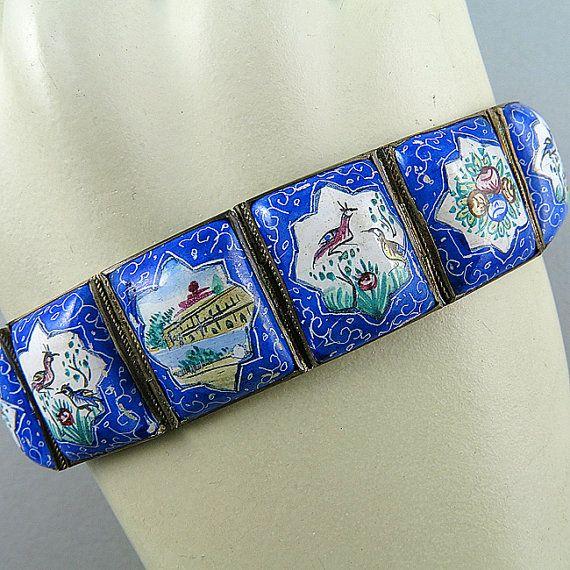 Vintage Persian Bracelet Enamel On Silver Bracelet Ethnic Jewelry Silver Persian Enamel Jewelry Handmade Jewelry Vintage Jewellery