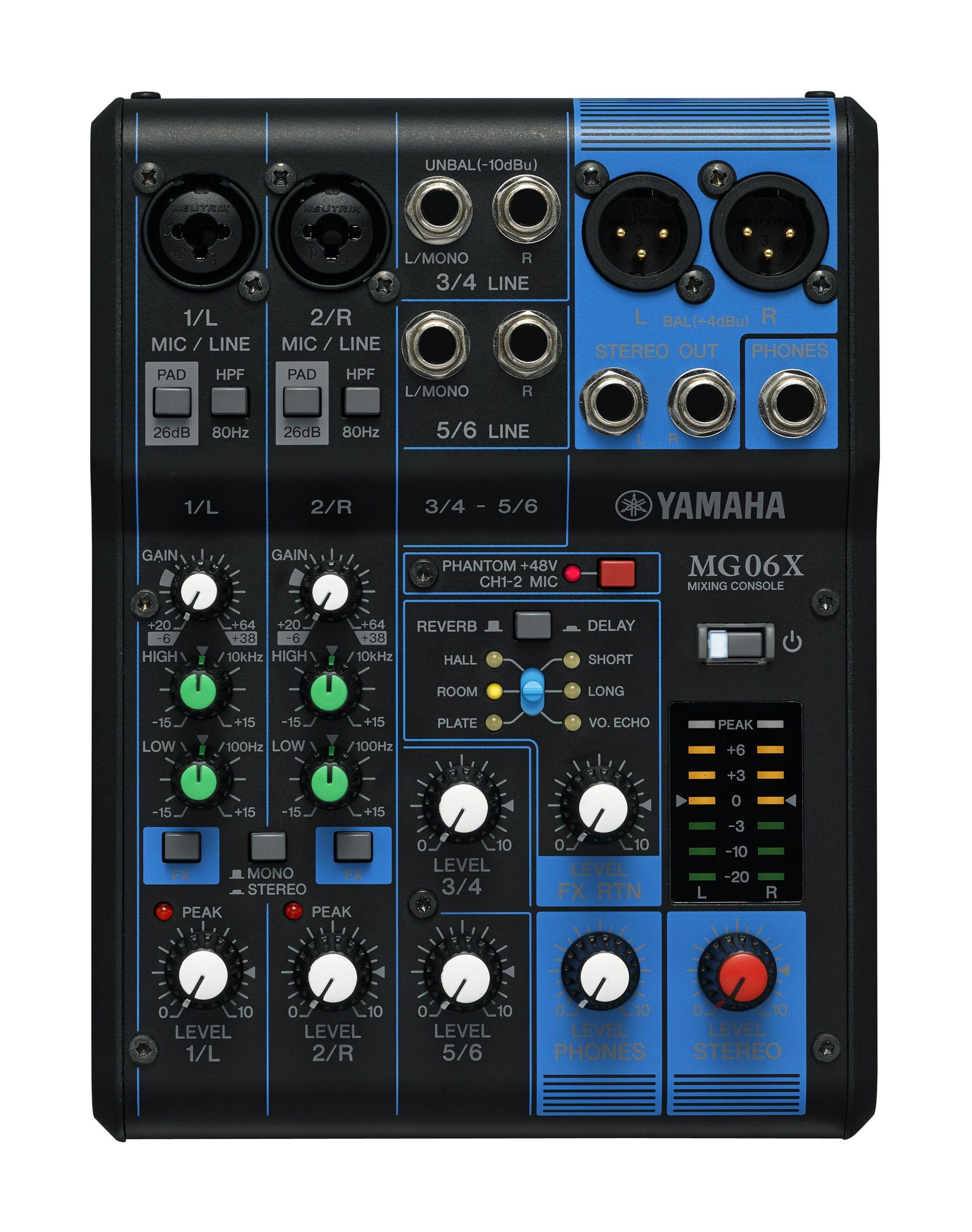 Yamaha MG06X 6Channel Mixing Desk with FX Audio, Yamaha