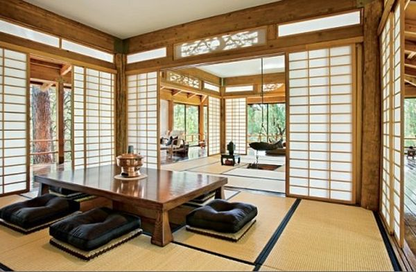 traditional japanese house design with stunning forest. Black Bedroom Furniture Sets. Home Design Ideas