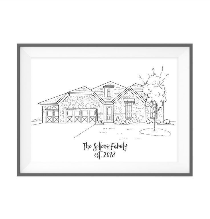 house portrait illustration, first home print, black and