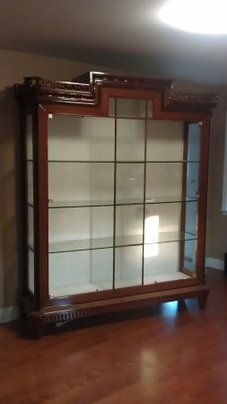Large China Cabinet Glass Display Case. Great Lines.
