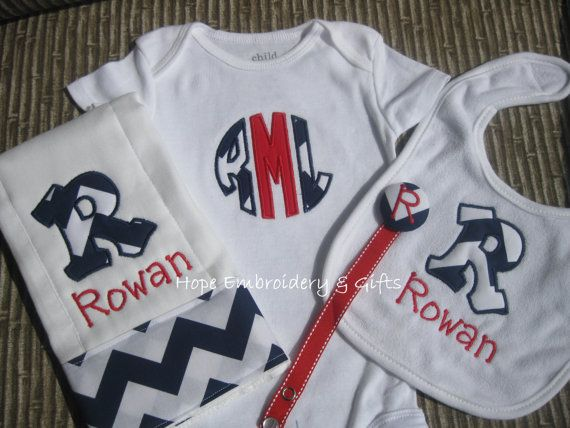 Monogrammed Chevron Boy Burp Cloth ,Onesie,Pacifier Clip ...