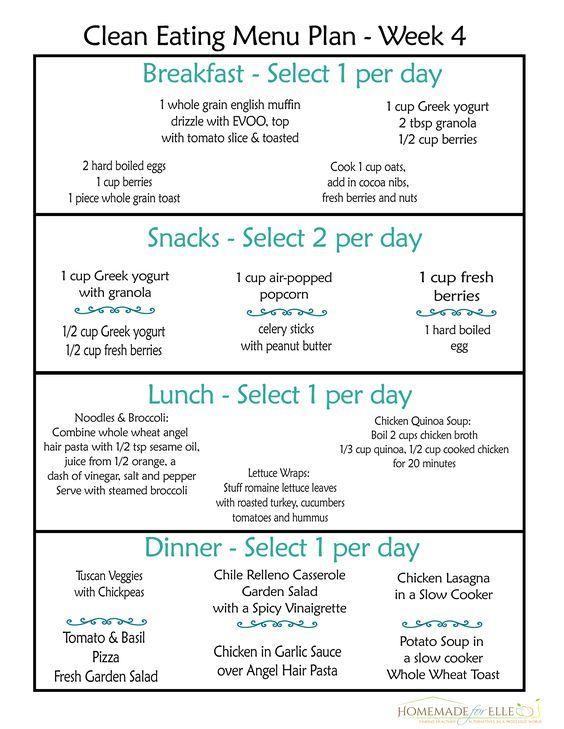 Clean Eating Meal Plan {100 Free - Includes Breakfast, Lunch - breakfast lunch and dinner meal plan for a week