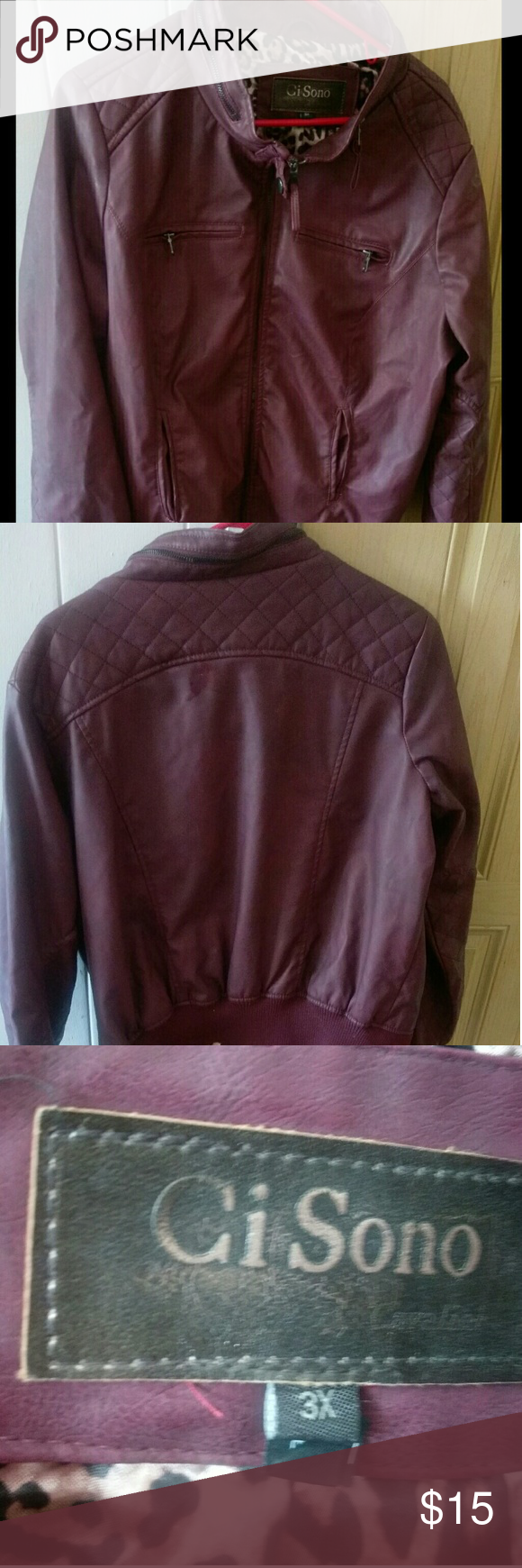 Forever 21 Plus burgundy Ci Sono leather jacket. Only worn