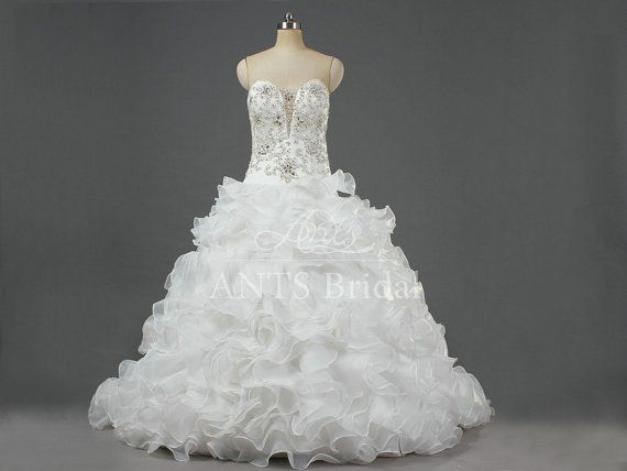 2014 A Line Crystal Beaded White Open Split Sexy Luxry Bridal Dress Ball Gown Sheer Ruffles Wedding Gown Dresses with Chapel Train W208 on Etsy, $249.00