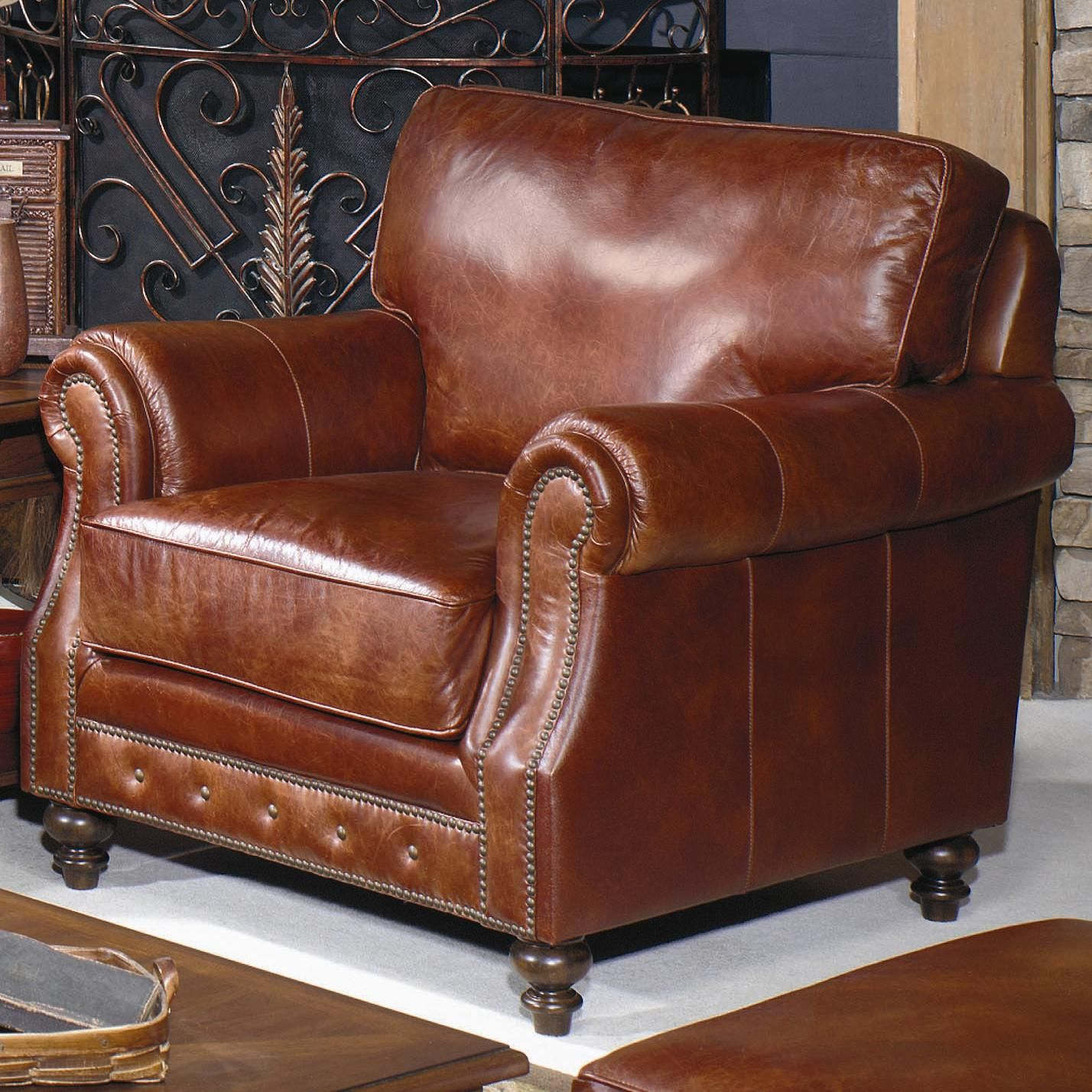 Craftmaster L928 Leather Chair With Nailhead Trim At Riverview Galleries Chair Leather Chair Accent Chairs