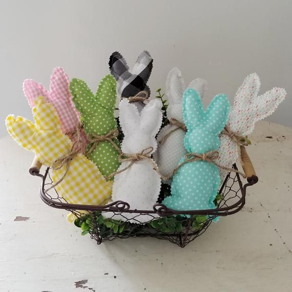 Photo of Farmhouse and cottage style stuffed fabric bunnies are perfect for your spring a …