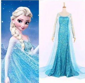 Damen Frozen Eiskonigin Elsa Anna Prinzessin Kleid Cosplay Kostum