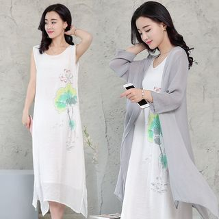 Buy Romantica Set: Floral Tank Dress + Long Cardigan at YesStyle.com! Quality products at remarkable prices. FREE WORLDWIDE SHIPPING on orders over US$35.