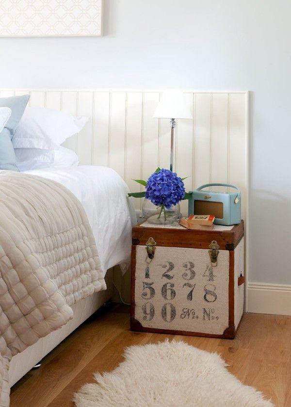 bett kopfteil weiß schlicht cooler nachttisch Schlafzimmer Ideen - schlafzimmer ideen weiß