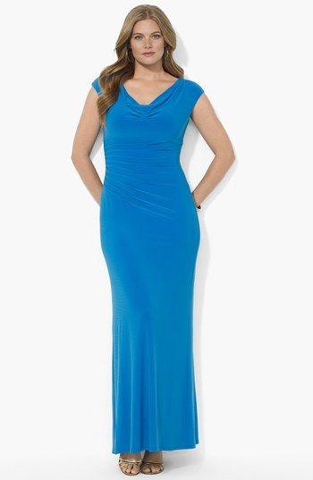 Lauren Ralph Lauren Pintucked Long Jersey Dress Plus Size