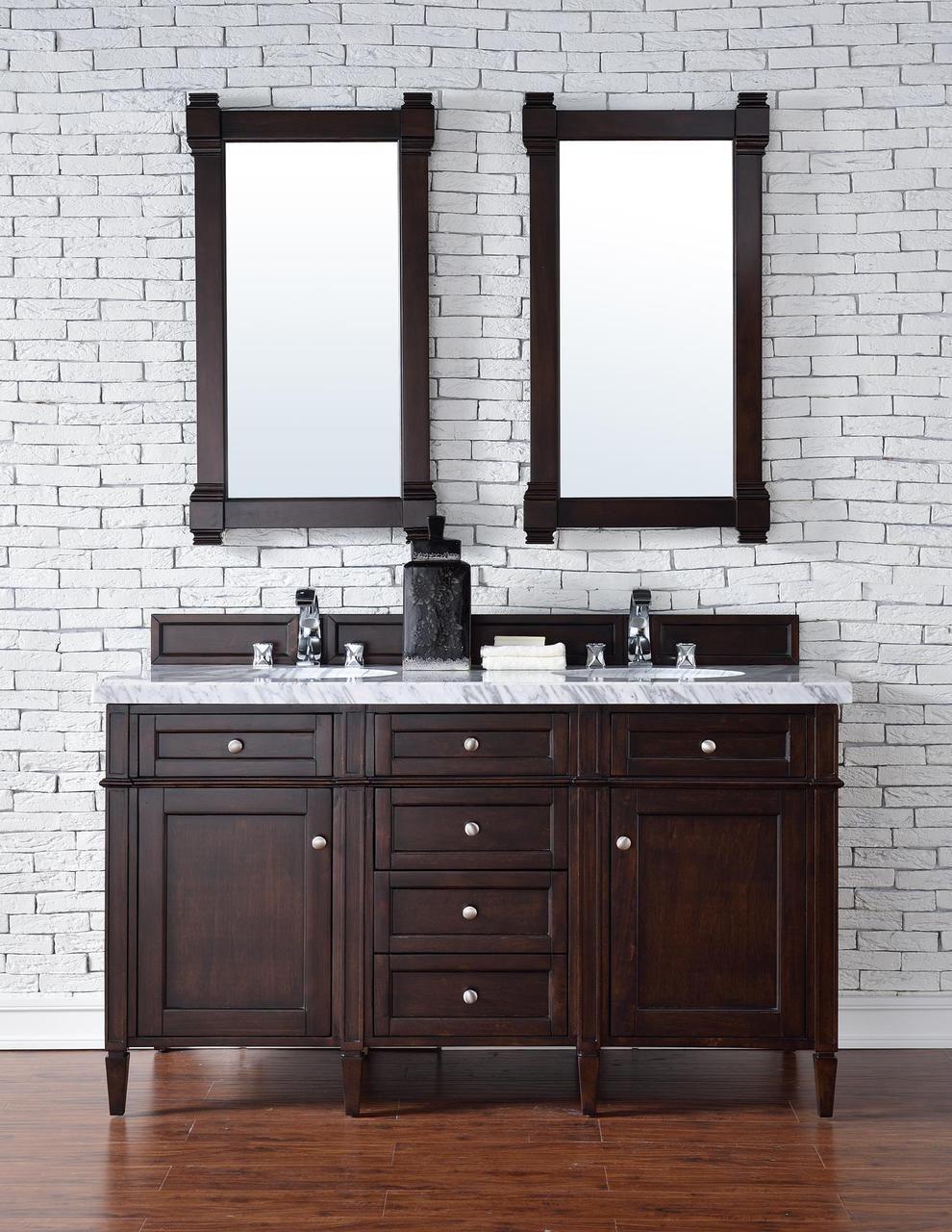 60 Inch Double Sink Contemporary Bathroom Vanity Mahogany Finish Optional Tops James Martin Furniture Double Sink Bathroom Vanity 60 Inch Double Vanity