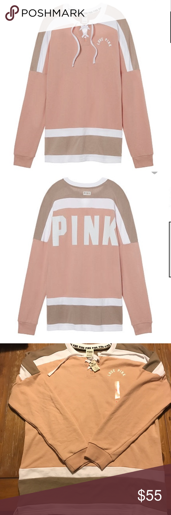 🌸1 HR SALE🌸 VS Pink laced up varsity crew NWT | Scoop neck, vs ...