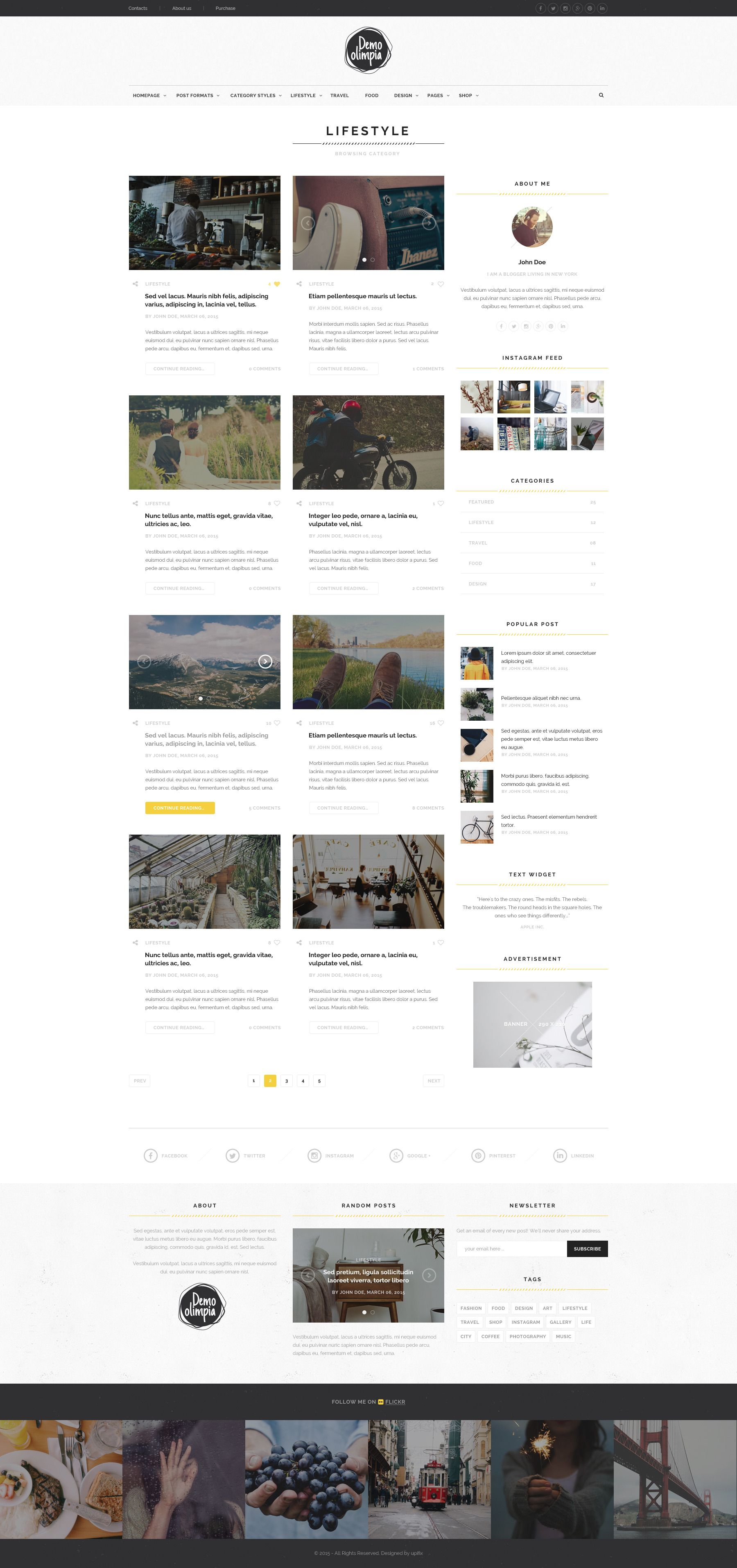 Demo Olimpia Personal Blog PSD Template
