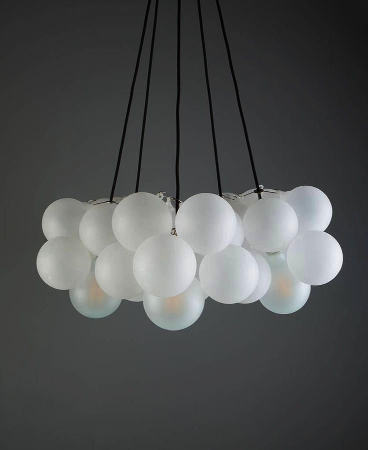 bubble chandelier ceiling light is definitely a showstopper It features frosted glass orbs suspended from a length of black fabric cable chandelier Frosted Bubble Chandel...