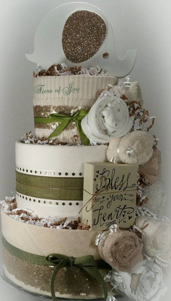 Green And Gold Diaper Cake Elephant Cake Topper Baby Blanket Baby