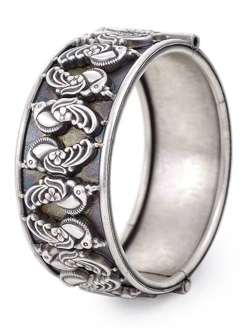 e4d723c0bb Classic Hinged Opening Silver Bangle with Peacock Design (Bangle Size -2.25  )