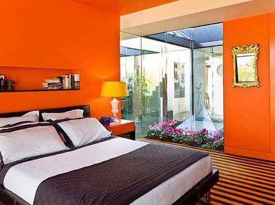 Super Energetic Bedroom In Shocking Color Of Almost Neon Orange