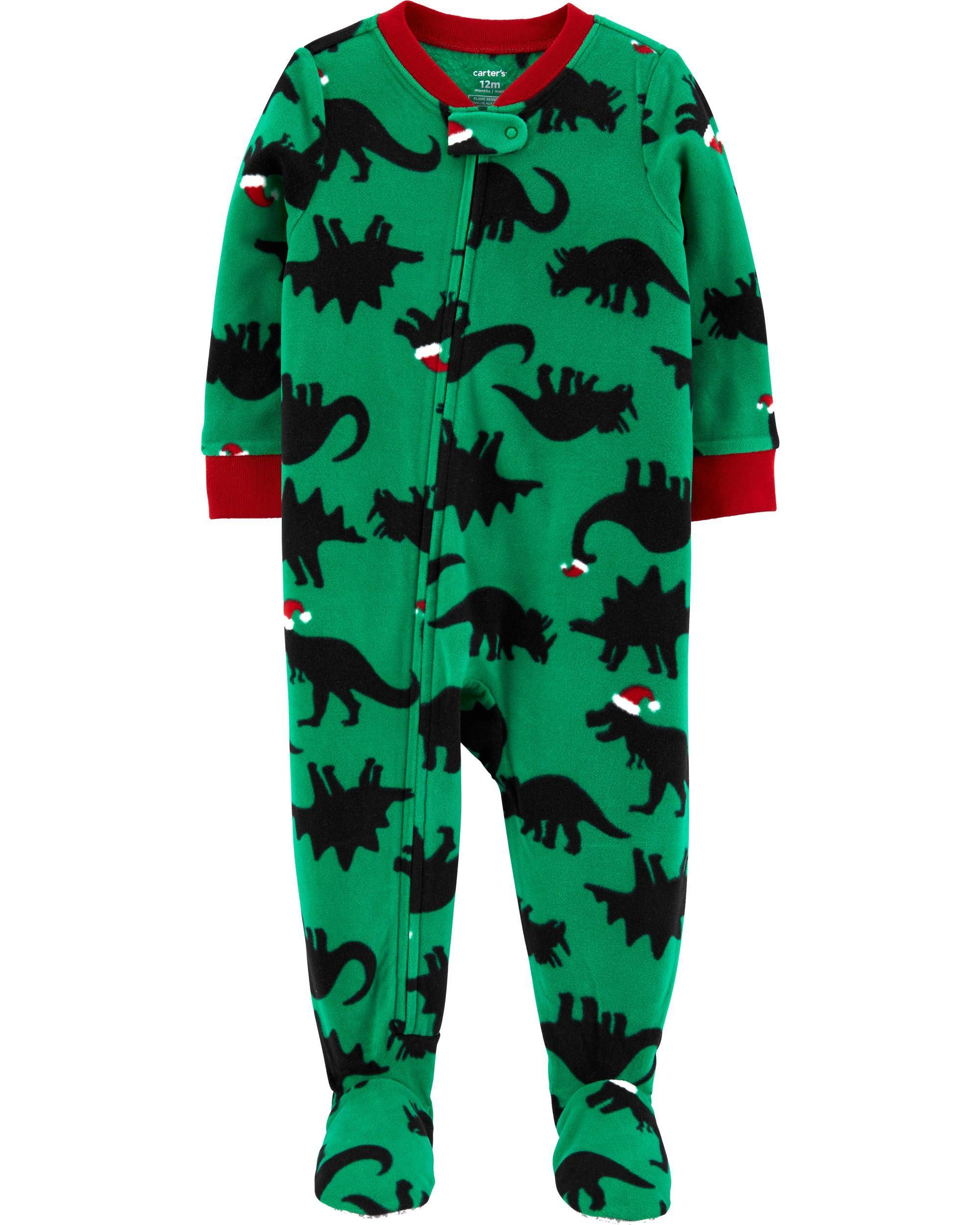 Little Boys Infant Toddler Green Camo Fleece Footed Pajamas Sleeper
